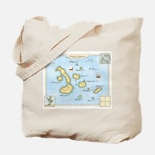 Galapagos Archipelago Map Tote Bag