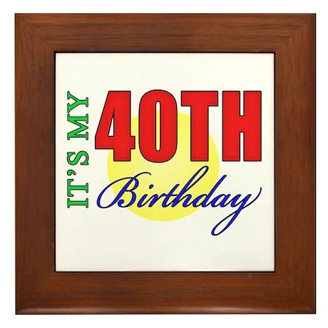 40th Birthday Party Framed Tile