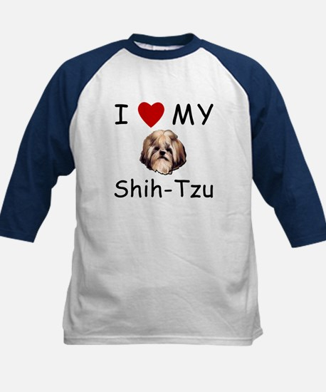 I Heart My Shih-Tzu Lost Humor Kids Baseball Jerse