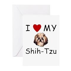 I Heart My Shih-Tzu Lost Humor Greeting Cards (Pk