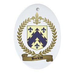 BARIEAU Family Crest Oval Ornament