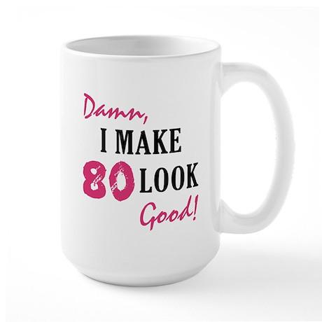 Hot 80th Birthday Large Mug