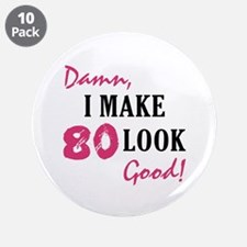 "Hot 80th Birthday 3.5"" Button (10 pack)"