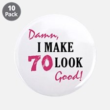 "Hot 70th Birthday 3.5"" Button (10 pack)"