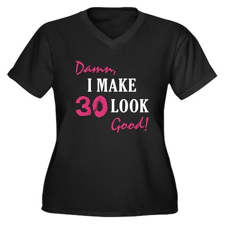 Hot 30th Birthday Women's Plus Size V-Neck Dark T-