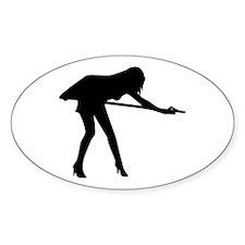 Billiards woman Oval Decal