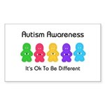 Autism Ok Difference Rectangle Sticker 50 pk)