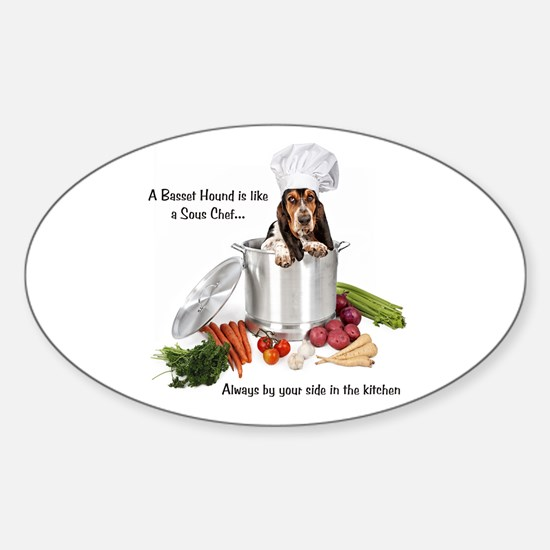 Basset Chef Oval Decal