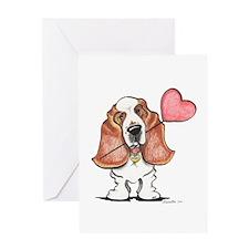Basset Heart Balloon Greeting Card