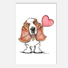 Basset Heart Balloon Postcards (Package of 8)