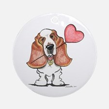 Basset Heart Balloon Ornament (Round)