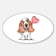 Basset Heart Balloon Sticker (Oval)