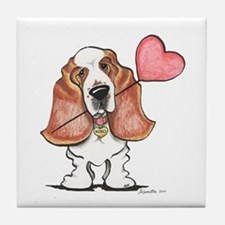 Basset Heart Balloon Tile Coaster