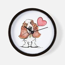 Basset Heart Balloon Wall Clock