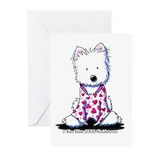 Valentine PJs Westie Greeting Cards (Pk of 10)