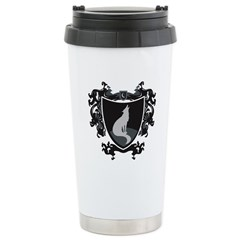 Black Wolf Shield Stainless Steel Travel Mug