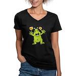 Hug Me, I'm Green! Women's V-Neck Dark T-Shirt