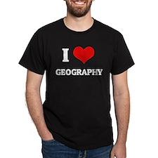 I Love Geography Black T-Shirt
