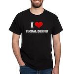 I Love Floral Design Black T-Shirt