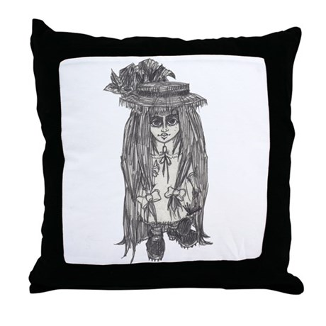 Creepy Li'l Goth Grrl Throw Pillow
