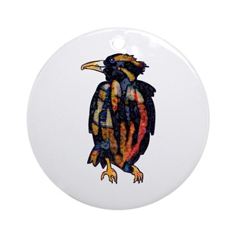 Thoughtful Raven Round Ornament