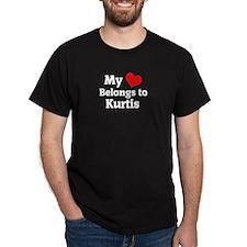 My Heart: Kurtis Black T-Shirt