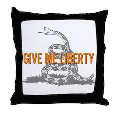 Give Me Liberty Rattlesnake Throw Pillow