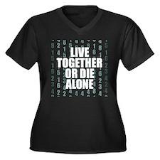 LOST Live Together Women's Plus Size V-Neck Dark T