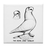 Royal Snow Tumbler Pigeon Tile Coaster