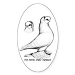Royal Snow Tumbler Pigeon Oval Sticker (10 pk)