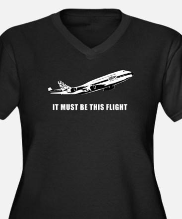 Ajira Flight 316 Women's Plus Size V-Neck Dark T-S