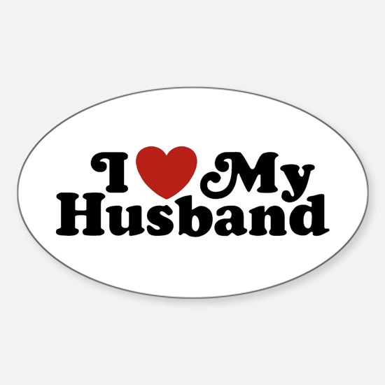 I Love My Husband Oval Decal