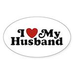 I Love My Husband Oval Sticker (10 pk)