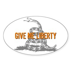 Give Me Liberty Rattlesnake Oval Sticker (50 pk)