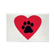 Heart and Pawprint Rectangle Magnet