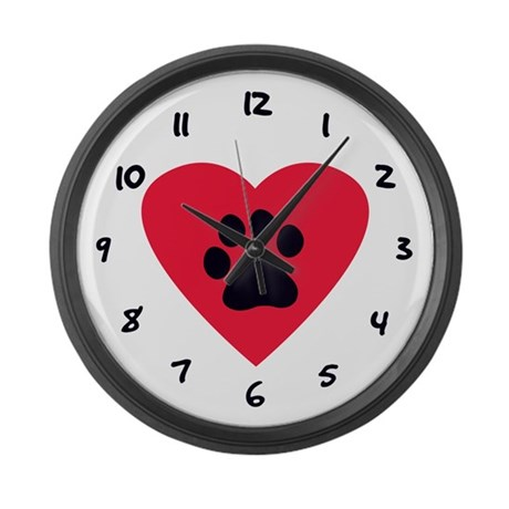 Heart and Pawprint Large Wall Clock