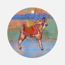 Carousel Goat Round Ornament