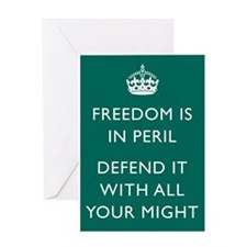 Freedom is in Peril Poster - Green Greeting Cards