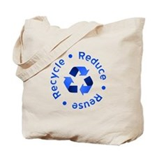 Blue Reduce Reuse Recycle Tote Bag