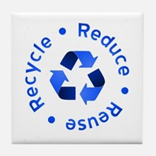 Blue Reduce Reuse Recycle Tile Coaster