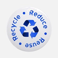 Blue Reduce Reuse Recycle Ornament (Round)