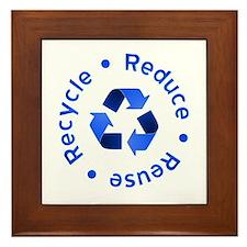 Blue Reduce Reuse Recycle Framed Tile