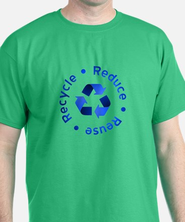 Blue Reduce Reuse Recycle T-Shirt