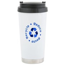 Blue Reduce Reuse Recycle Travel Mug