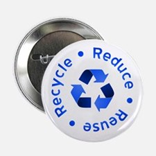 """Blue Reduce Reuse Recycle 2.25"""" Button"""