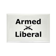 Armed Liberal Rectangle Magnet