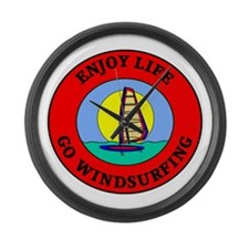 Enjoy Life Go Windsurfing Large Wall Clock