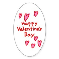 Valentines Hearts Oval Decal