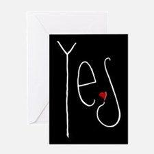 Yes Heart white Greeting Card