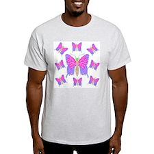 Neon Dragon Swallowtails Ash Grey T-Shirt